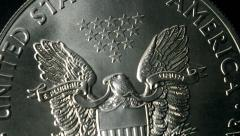 Silver Eagle US Coin Slow Motion Bounce Stock Footage