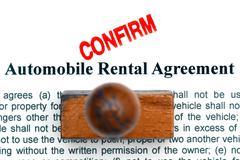 Automobile rental agreement - stock photo