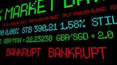 Stock ticker reads bankrupt - stock photo