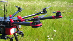 Rotating Motors large quadrocopters Stock Footage