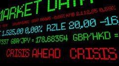 Stock ticker crisis ahead - stock photo