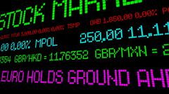 Euro holds ground stock ticker - stock photo