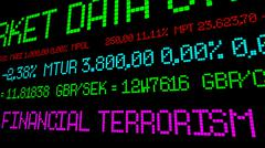 Financial terrorism stock ticker - stock photo
