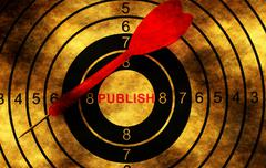 Publish target on grunge background concept Stock Photos