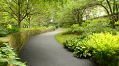 Winding path through a garden Stock Footage