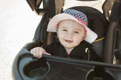 Baby sitting stroller - stock photo