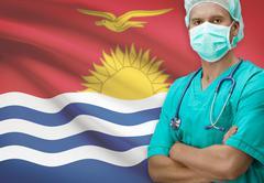 Stock Photo of Surgeon with flag on background - Kiribati