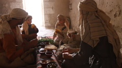 Stock Video Footage of Biblical Re-enactment of Passover Meal