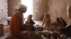 Biblical Re-enactment of Passover Meal Stock Footage