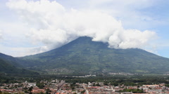 Antigua Guatemala 41 - Agua Volcan and City Landscape - stock footage