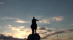 Russia Saint-Petersburg 2015 the Bronze Horseman and moon zoom in 2 Stock Footage