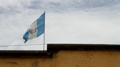 Antigua Guatenala 54 - Flag of Guatemala Stock Footage