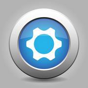 blue metal button with cogwheel - stock illustration