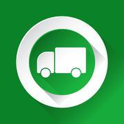 Green circle shiny icon - lorry car Piirros