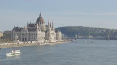 Hungarian parliament building located on river Danube banks UHD Stock Footage