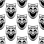 Seamless pattern with theater comedy masks Piirros