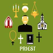 Priest with other religious icons, flat style - stock illustration
