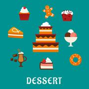 Desserts with cake and confectionery icons - stock illustration