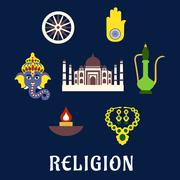 Stock Illustration of Indian religion and culture flat symbols