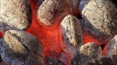 burning briquettes, charcoal, ready for barbecue grill - stock footage