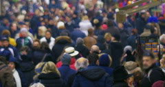 Motley crowd in the city street Stock Footage