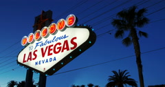 Welcome to fabulous Las Vegas Nevada sign in lights 4k (1 of 2) Stock Footage