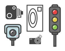 Vector flat design illustration of road speed camera signs and traffic lights Piirros