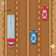 Road with red blue cars and cargo truck - retro pixel art Piirros