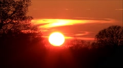 Beautiful sunset in the evening, red clouds Stock Footage