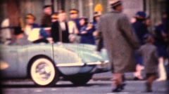 Vintage Corvette Cars in Parade Stock Footage