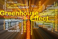 Greenhouse effect background concept glowing Stock Illustration