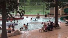 Public Swimming Pool - 20 - Aqua Park, Kids and Parents Stock Footage