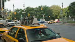 Taxi Stand - yellow cabs near Columbus Circle in New York City Stock Footage