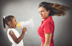 Protest of a little girl - stock photo