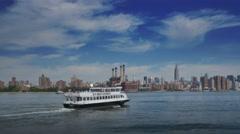 East River Ferry Establishing Shot Stock Footage