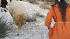 Stock Video Footage of Biblical Re-enactment of Shepherdess and Sherpherd
