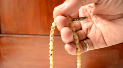close up of tasbih in hands 7 - stock footage