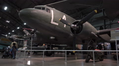 Douglas C-47 Skytrain aircraft at WPAFB Museum 4k Stock Footage