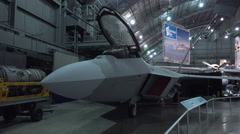 F-22 Raptor plane pan shot in WPAFB Museum 4k Stock Footage