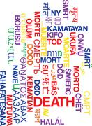 Death multilanguage wordcloud background concept - stock illustration