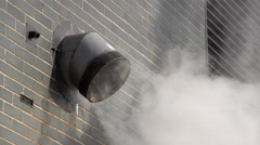 Exhaust ventilation system with smoke coming out on side of building 4k Stock Footage