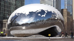 Snow on top of Millennium Bean in Chicago 4k Stock Footage