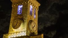 Cannes Clocktower at Night Stock Footage