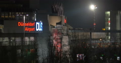 Night city view with Dusseldorf airport Stock Footage