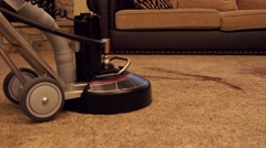 Carpet cleaning low dolly shot - stock footage