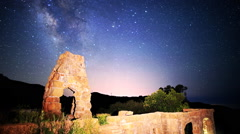 Stock Video Footage of Astrophotography Time Lapse of Milky Way over Arch Ruin -Zoom In-