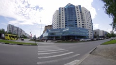 Surgut, City center building Stock Footage