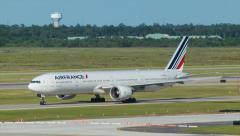 Air France Boeing 777 Taxiing in Houston TX Stock Footage