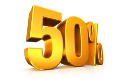 3D render text in 50 percent in gold - stock illustration