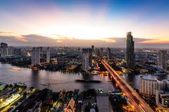 Bangkok skyline cityscape in Thailand. - stock photo